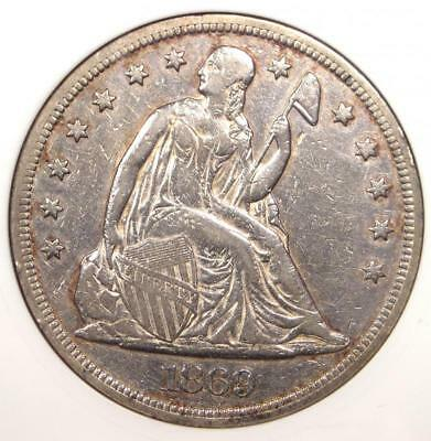 1869 Seated Liberty Silver Dollar $1 - ANACS XF Details / Net VF30 - Rare Coin!