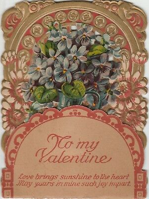 Vintage Victorian Valentine Card w/Flowers, Opens Up, Made in Germany 1800's