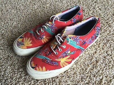 Vintage 80's CONVERSE SKIDGRIP Rare Red Tropic Canvas Shoes Men's Size 9.5