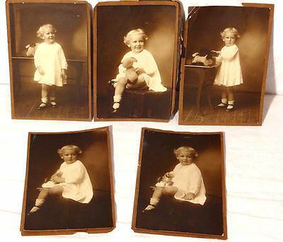 Set of 5 Antique Original Sepia Baby Photos c.1920s or 1930s - B&W Studio Lot
