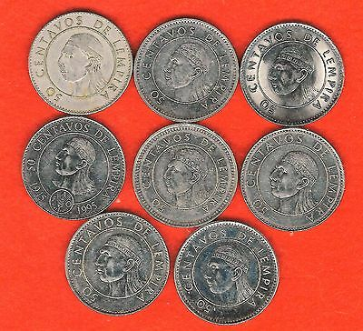 Honduras -- Eight 50 Centavos Coins, Each With A Different Date