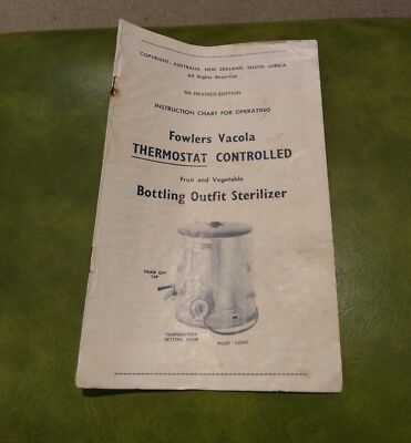 VINTAGE FOWLERS VACOLA instruction chart sterilizer book