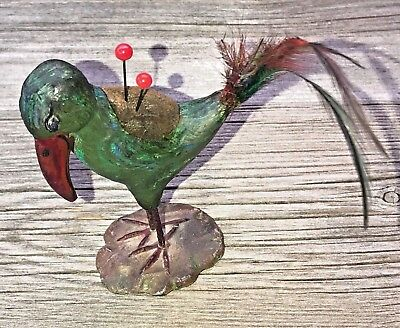 Antique RARE Figural Bird Pin Cushion Metal & Vibrant Paint w/Tail Feathers