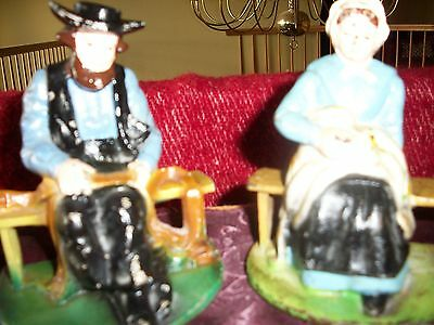 Antique 1920's WILTON BOOKENDS Cast Iron Amish Man & Woman SIGNED HAND PAINTED