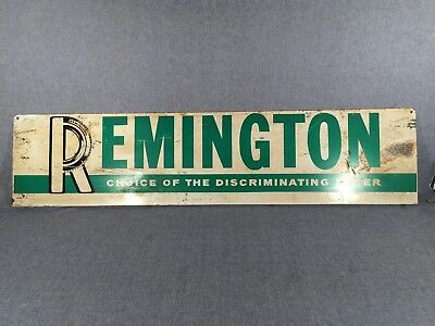 "Vintage Original Remington Tire Double Sided Flanged Painted Tin Sign 48"" long"