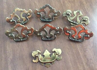 "Vintage set of 6 ""Key Hole"" drawer pulls, 3 inch Keeler Brass Co"