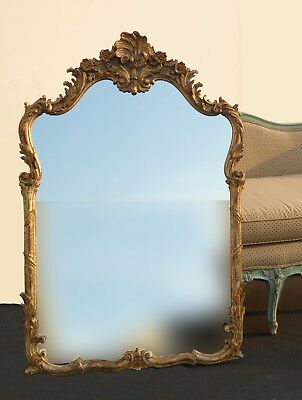 Vintage French Louis Rococo Gold Gilt Floral Design Wall Mirror Made In Italy