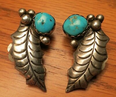 Great Pair Of Navajo Silver And Turquoise Clip Earrings Possibly Kingman
