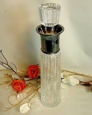 "VTG Crystal Liquor Whiskey and Wine Decanter Cut Glass 13.5""H Glass Stopper MCM"