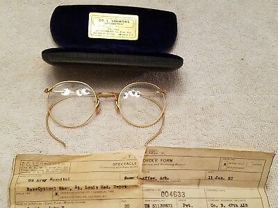 Antique 1/10 12K GOLD FILLED Wire Rimmed EYE GLASSES & CASE US ARMY ISSUED NICE