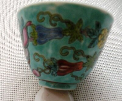 Chinese Tea Cup and Spoon Pottery CeramicFlower Pattern