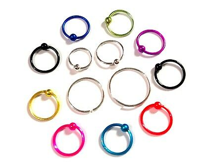 100% Nose Ring 925 Silver 0.6Mm Thin  Hoop Choose Good Quatity 6Mm-09Mm Uk Size