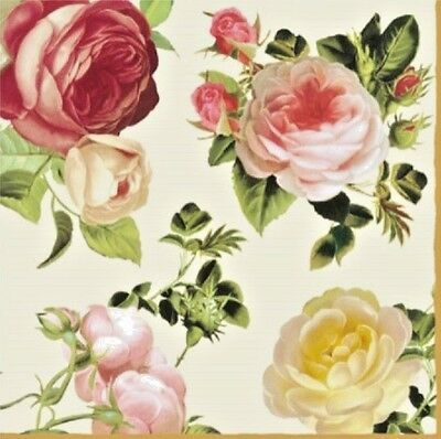 TWO (2) Vintage Roses, Cream Background, Paper Luncheon Napkins for Paper Crafts