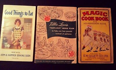 Lot of 3 Antique Advertising Cookbooks- Magic Baking Powder, Arm & Hammer Soda