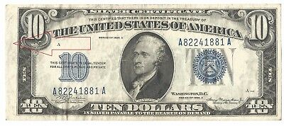 1934-A $10 Silver Certificate Faulty Alignment Error-Fr 1702-Vf Free Us Ship