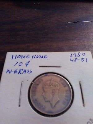 Hong Kong 10 Cents, 1950, nickel-brass coin in extremely fine condition