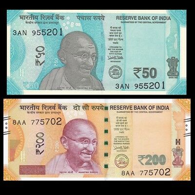 India, 200 & 50 Rupees Currency Notes 2017 P-New, UNC Gandhi, New Color