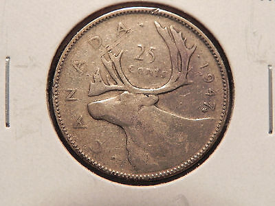 """~1947~ with Maple Leaf  TWENTY FIVE CENTS CANADA,  NICE """"SILVER COIN"""""""