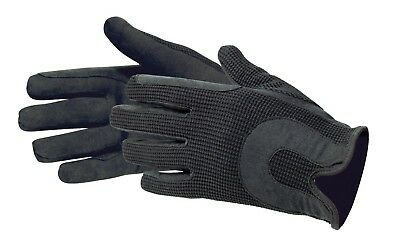 (Large) - Horse Riding Gloves Cotton Dublin Track Fabric Shires Gloves Leather