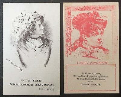 Sewing Machine Trade Cards - Actresses - Kitty Blanchard & Fannie Davenport