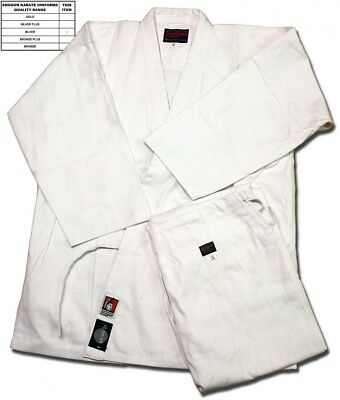 (175) - Shogun white karate uniform/suit/gi, Silver quality. Best Price