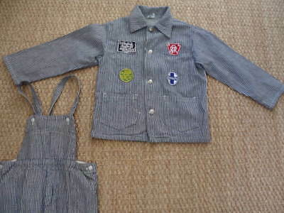 Vintage Train Engineer Suit, Konell, Jacket with Overalls 1950's, Size 10, Fine!