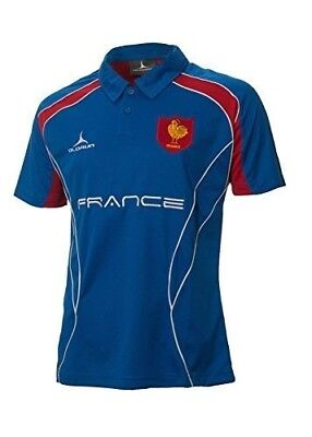 (Small) - France Rugby Supporters Polo Shirt S - XXXXL Olorun French Rugby