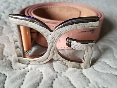 Auth Dolce & Gabbana Nude Patent Leather Brand Logo Buckle Belt 95cm/38in BE0236