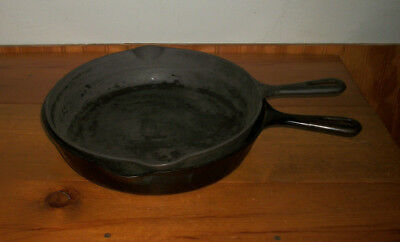 Vintage GRISWOLD Cast Iron Skillets Small Logo No.s 9 & 10