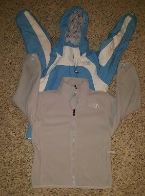 THE NORTH FACE Jacket HYVENT 3 IN 1 BLUE Waterproof FLEECE Girls SIZE Med 10/12