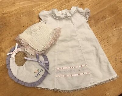 American Girl Bitty Baby Starter Collection White Gown Smocked Bonnet & Bib Set
