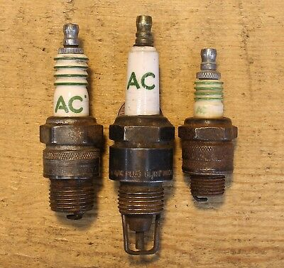 Vintage Lot of 3 Early AC Albert Champion SPARK PLUGS 18A TC-83 TRACTOR LM46