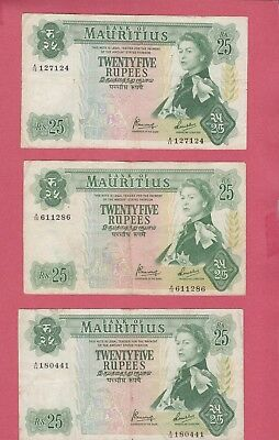 Mauritius 1967 (Nd) 25 Rupees Banknotes Lot Of (3) Beauties