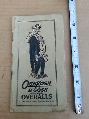 Vintage 1920'S Osh Kosh B'Gosh Union Made Overalls Time Book