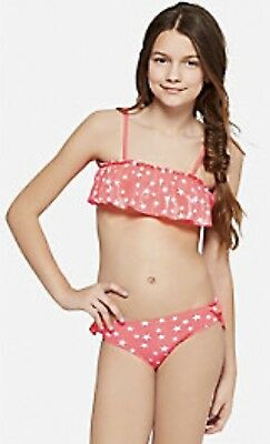 942ad7f97e NEW JUSTICE Girls Coral Pink Silver Star Flounce Bikini Swimsuit Size 14 NWT