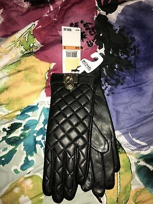 Michael Kors Womens Padlock Quilted Leather Tech Gloves Small Black gold nwts