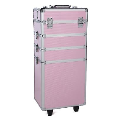 Rolling Trolley 4 in 1 Aluminum Cosmetic Case Artist Makeup Train Organizer Pink