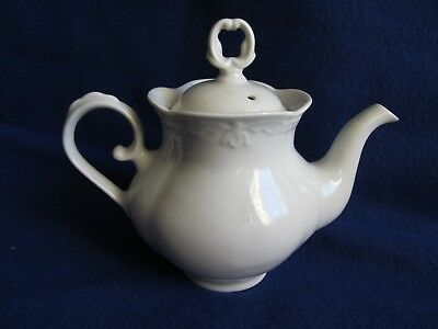 RARE Original Beautiful Antique 1800's All White High Relief Ironstone Teapot