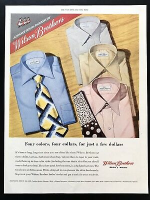 1948 Vintage Print Ad WILSON BROTHERS Men's Wear Fashion 40's Style Shirt Tie