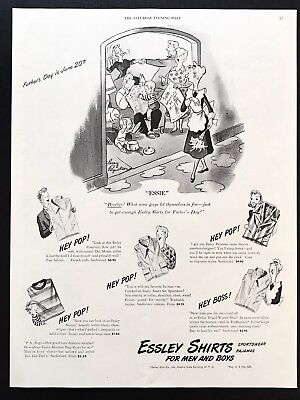 1948 Vintage Print Ad ESSLEY SHIRTS Men's Fashion Larry Reynolds Art 40's