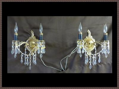 2 Vintage Solid Brass Wall Sconces Superb Quality Leaded Crystals Stunning Pair!
