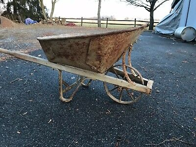 Antique Vintage Iron Metal Wheel Wood Handles Farm Wheelbarrow General 6