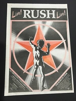 """RUSH 1981 Original 12X16"""" Print Ad For """"Live"""" With Tour Dates And Locations"""
