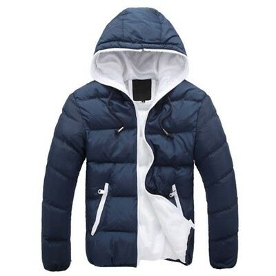 Mens Winter Puffer Parka Cotton Coat Casual Paded Quilted Hooded Jacket M-4XL US