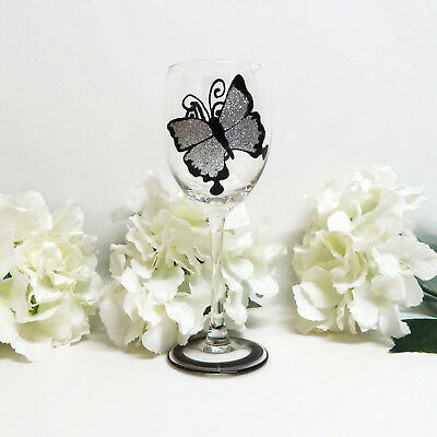 80th Birthday Wine Glass Gift Silver Glitter Butterfly