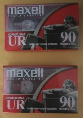 LOT 2 Maxell Audio Cassette Normal Bias UR-90 Brand New 90 Minutes UR90
