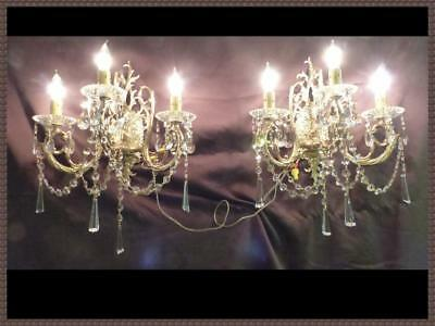 (2) Vintage Gorgeous Spanish Brass Wall Sconces Superb Crystals Chandelier
