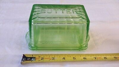 Vintage Block Optic Green Depression Vaseline Glass 1# Butter Dish Complete!