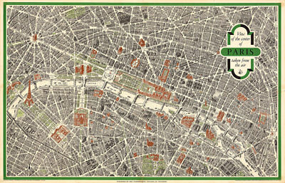 View of the Center of Paris 1959 Vintage Map Huge Art Print