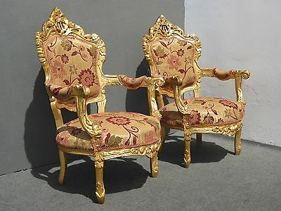 PAIR Vintage French Provincial Rococo Louis XVI Gold Gilt CHAIRS Blue Back
